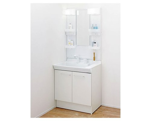 LIXIL 洗面台 PV洗面 幅750mm 奥行き500mm 両開き ホワイト ミラー 1面鏡 LED照明 PVN-755S/VP1H + MPV1-751YJ INAX 洗面化粧台 750 75cm