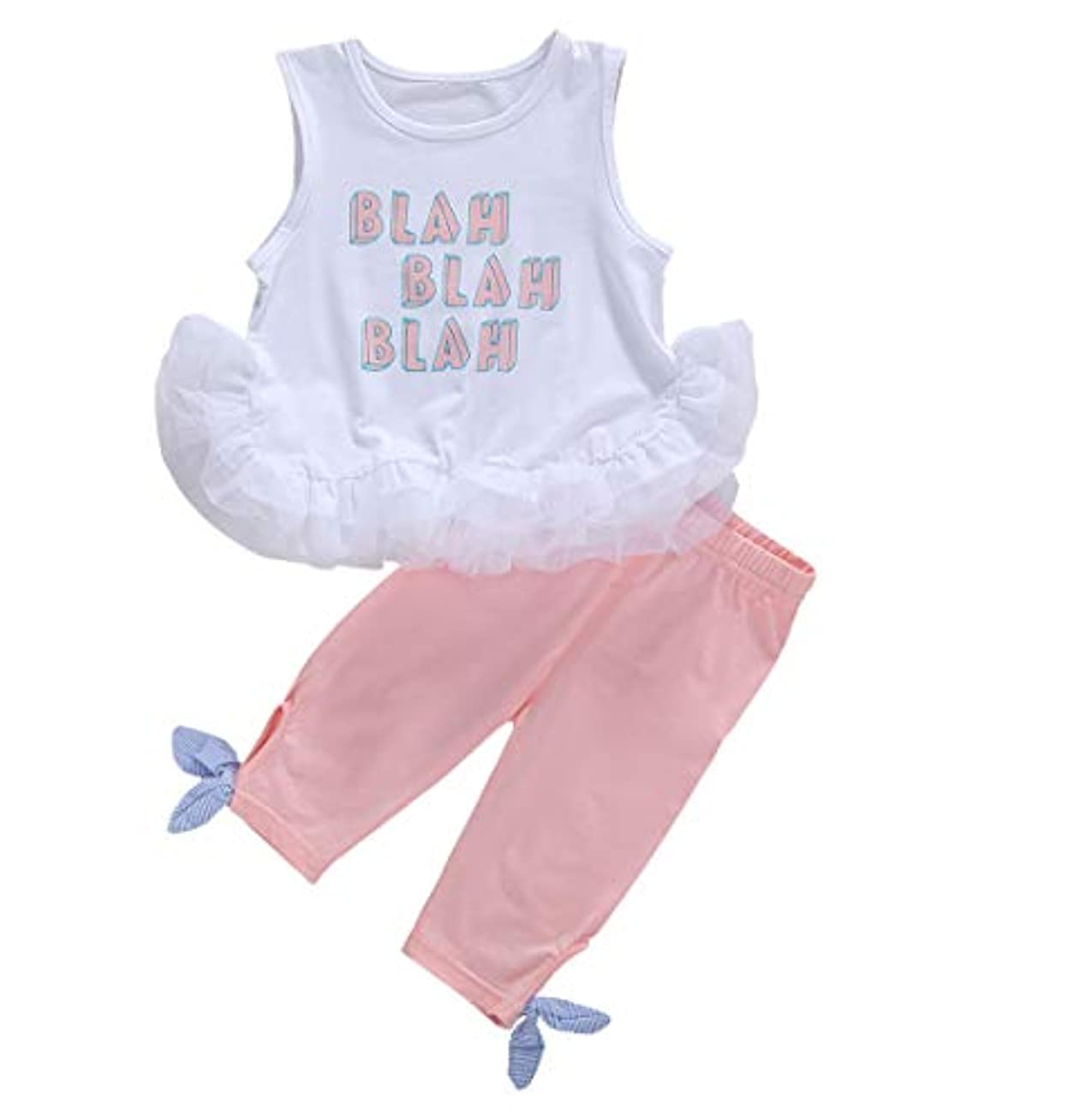 ラップトップ受ける口述する2-7歳 幼児の赤ちゃん女の子ブラノースリーブホワイトフリルタンクベストトップとピンクのパンツの衣装セット