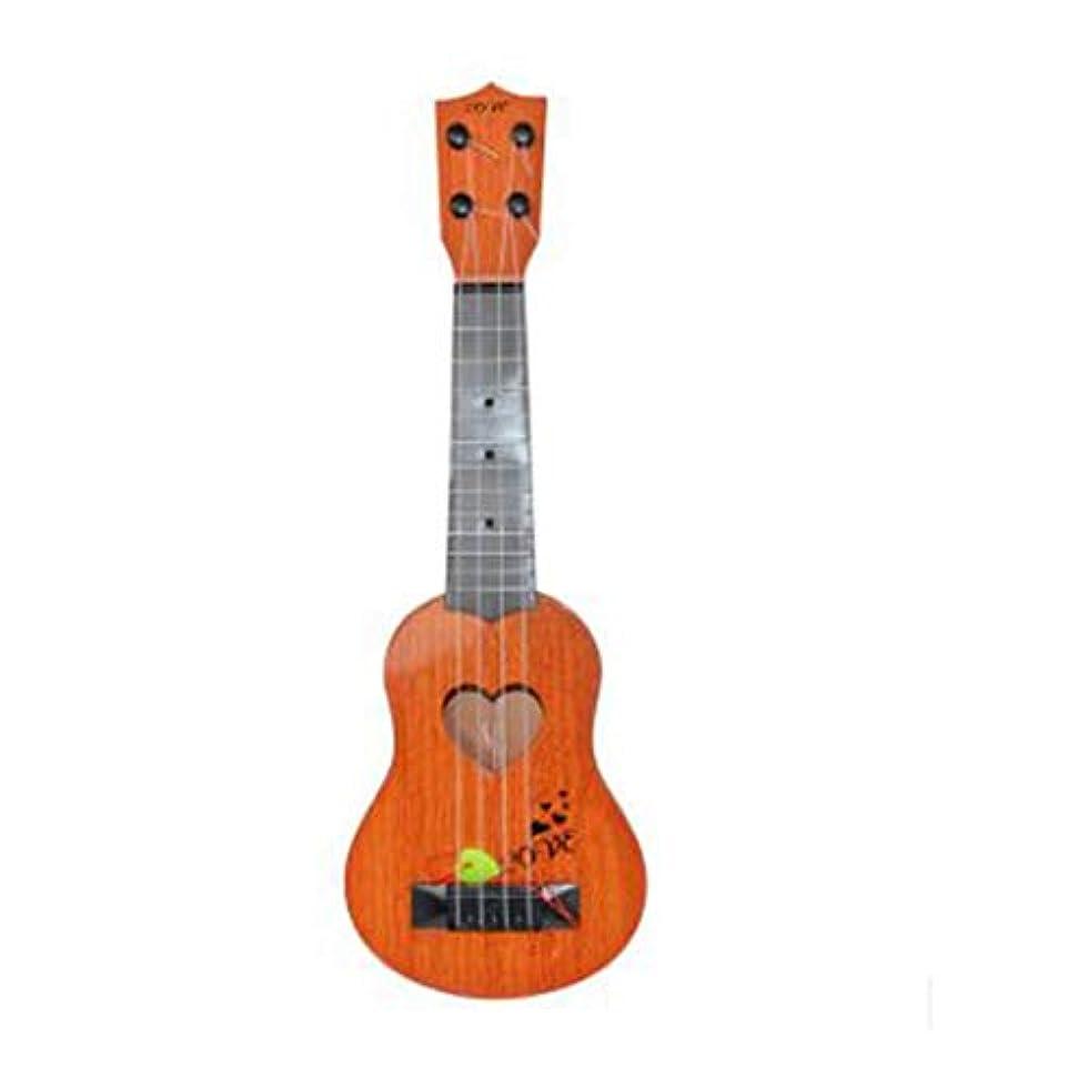 スラダム承認軽蔑する子供ミニウクレレシミュレーションギターカラフルな楽器ギター赤ちゃん子供音楽興味開発おもちゃ-オレンジ-S