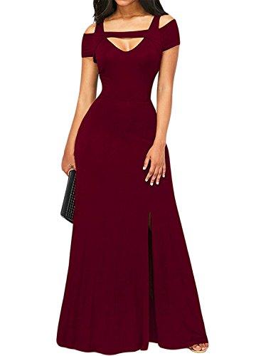 EVALESS Womens Burgundy Cold Shoulder V Neck Prom Evening Club Maxi Long Dress Medium