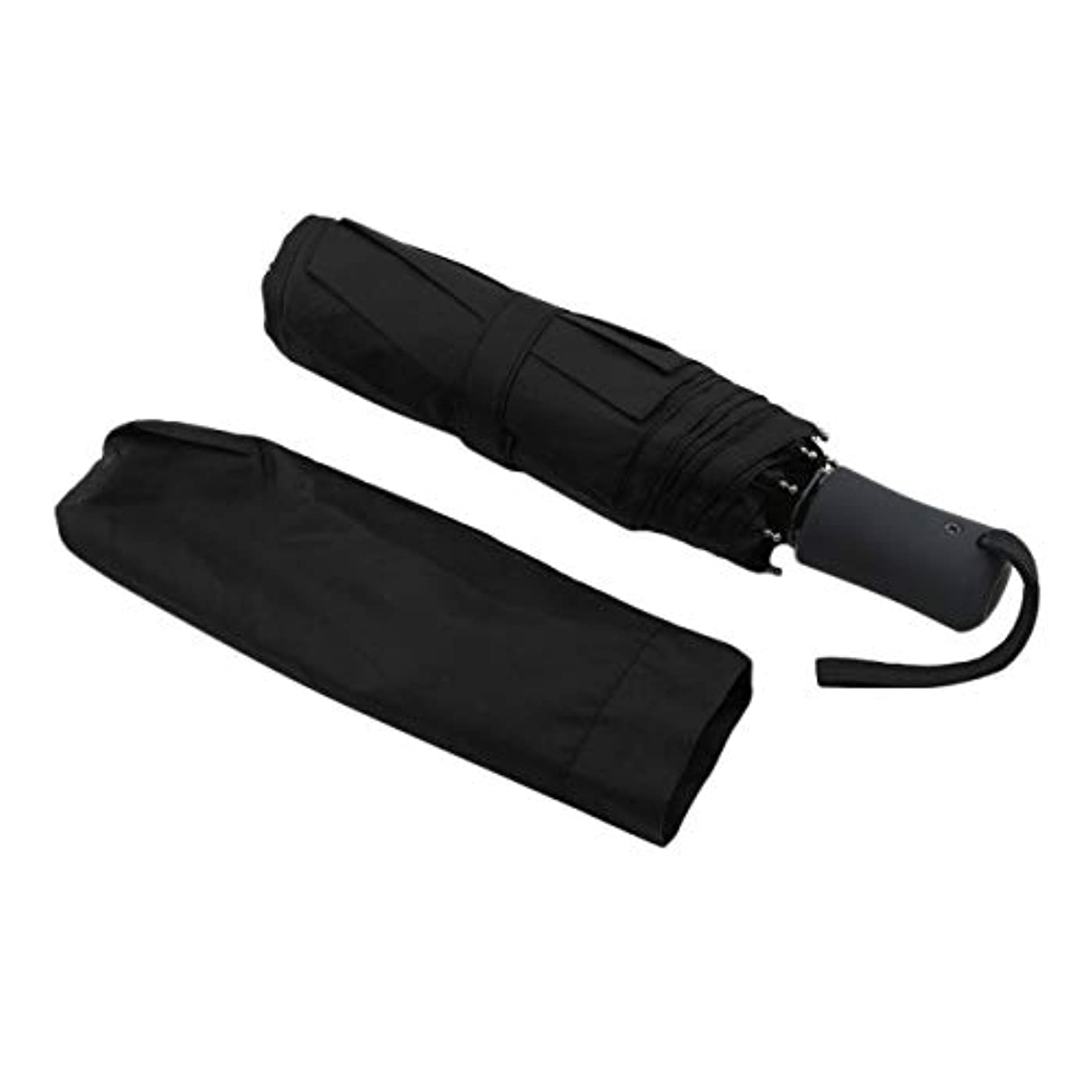Saikogoods 耐久性に優れたファッショナブルな高度な全自動UVプルーフ三折りたたみビジネスソリッドサンシェード雨の傘 黒