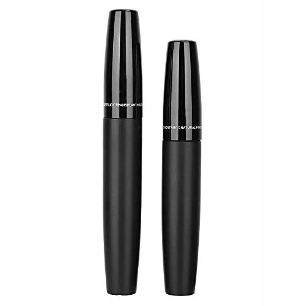 バランス震える回転する3Dマスカラ、2本ブラックチューブまつげ繊維セット緻密カーリングまつげエクステンション化粧品