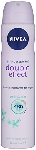 NIVEA Double Effect White Senses Aerosol Antiperspirant Deodorant Spray, 250 ml