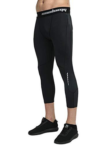 COOLOMG スポーツタイツ レギンス スパッツ コンプレッションウェア ランニング ジョギング パワーストレッチ メンズ 7分丈 UVカット 吸汗速乾