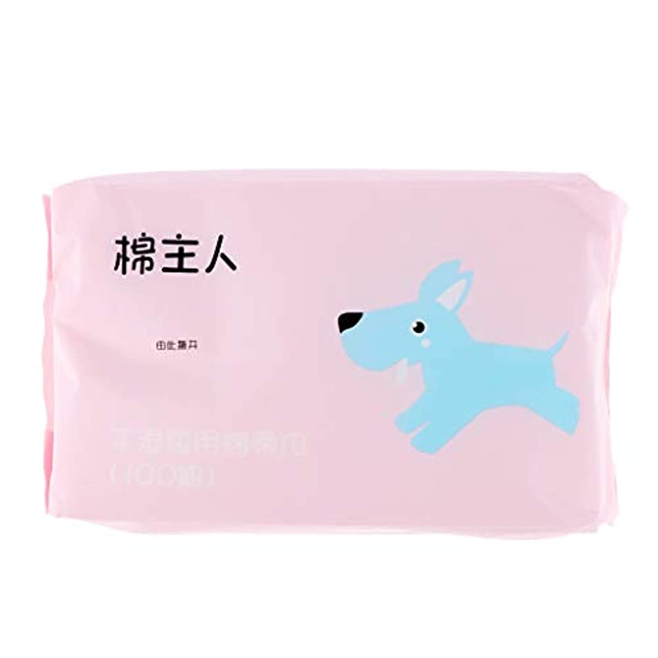 麺ワイヤー複雑でないB Blesiya 約100枚 使い捨て クレンジングシート メイク落とし 化粧品 ソフト 2色選べ  - ピンク