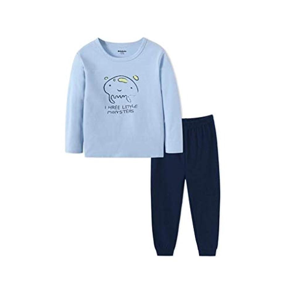 定刻プレミアム勧める子供の秋の服セット子供の下着の男の子パジャマ長袖のコットンの秋のパンツラウンドネックウォームパジャマスーツは、年齢に適して1-7歳