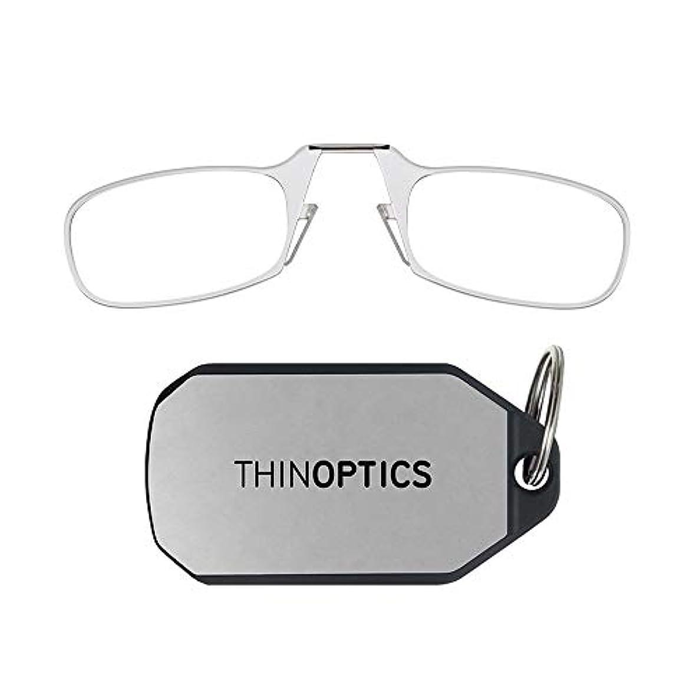 何アンデス山脈物思いにふけるThinOptics キーホルダー 老眼鏡 クリアフレーム 強度2.00