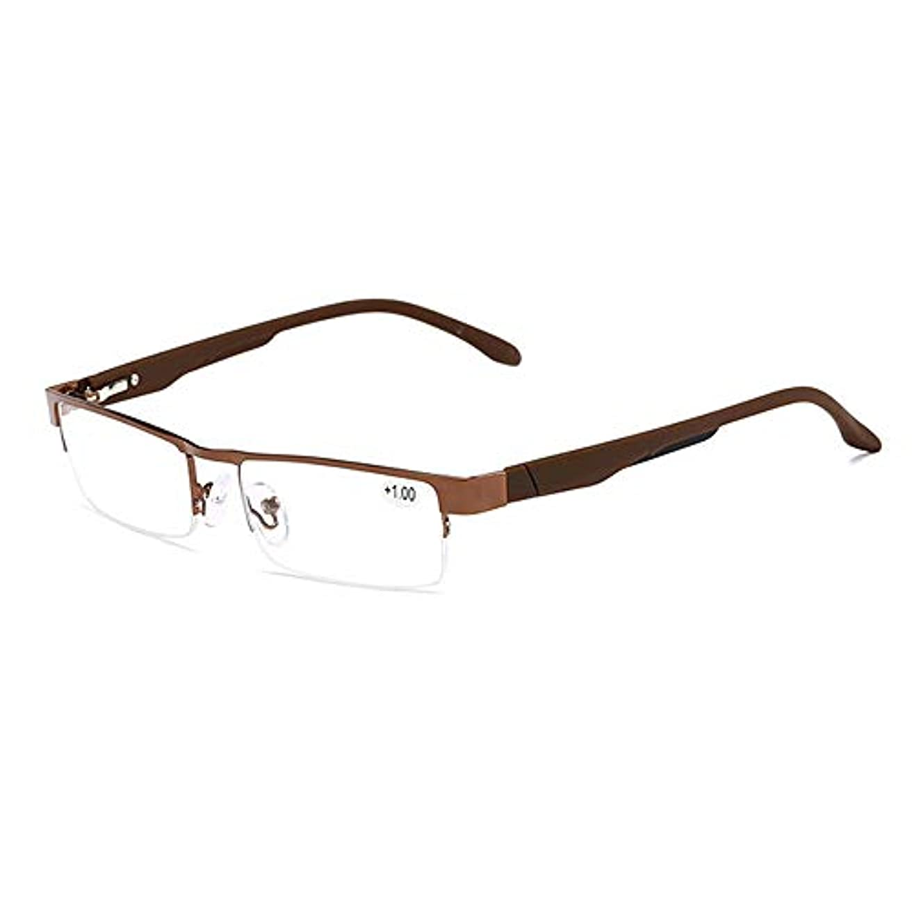 男女兼用の軽量で快適なスクエアメタルフレーム老眼鏡,ブラウン,+1.5