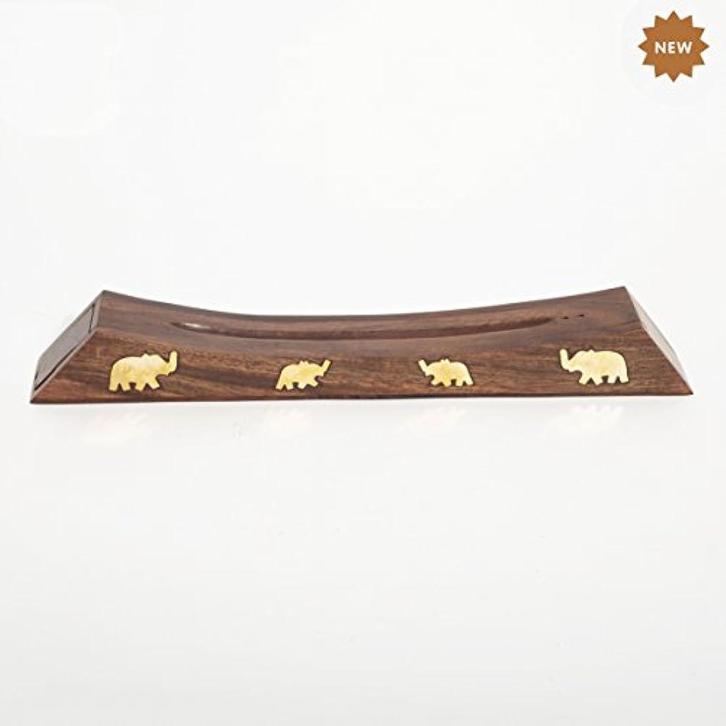 Rusticity 木製お香スタンド お香スティック 収納スロット付き 象の真鍮インレー ハンドメイド 12.4x1.6インチ