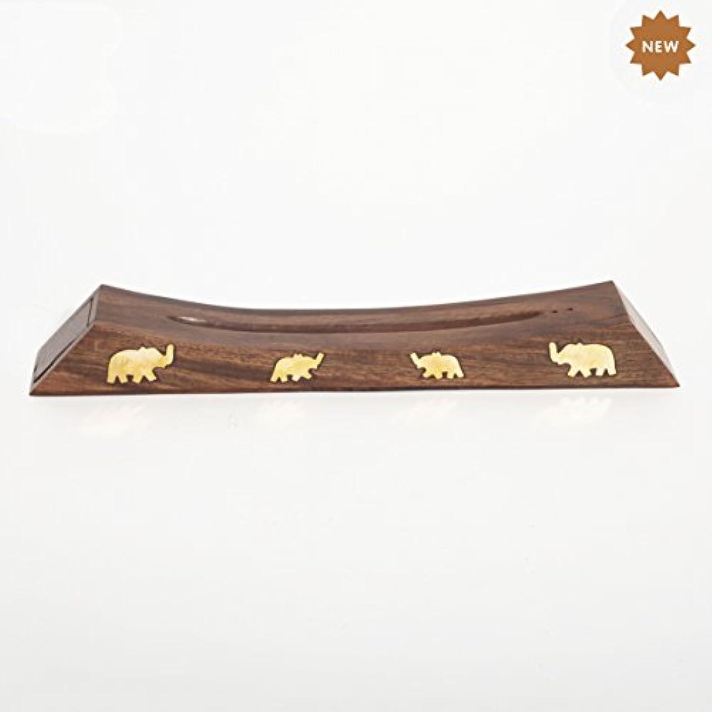 デコレーション敵意治療Rusticity 木製お香スタンド お香スティック 収納スロット付き 象の真鍮インレー ハンドメイド 12.4x1.6インチ