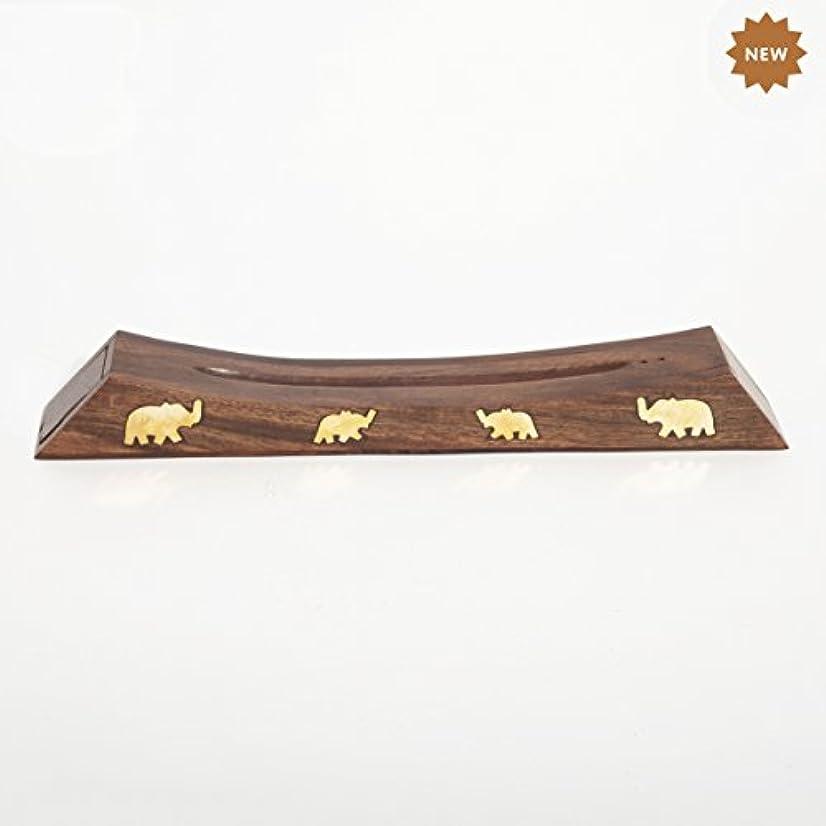 しない分類経済Rusticity 木製お香スタンド お香スティック 収納スロット付き 象の真鍮インレー ハンドメイド 12.4x1.6インチ