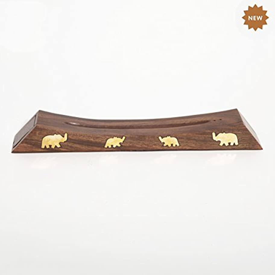 マチュピチュ極めて重要なそれによってRusticity 木製お香スタンド お香スティック 収納スロット付き 象の真鍮インレー ハンドメイド 12.4x1.6インチ