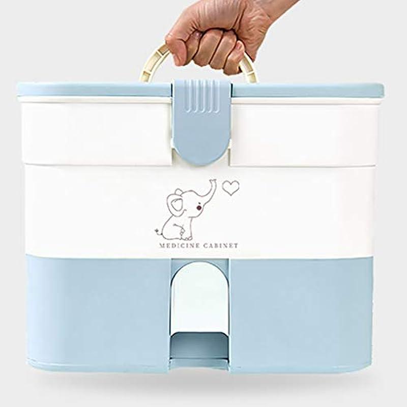 ブラインド適度に金貸しBBJOZ 引き出し式薬収納ボックスポータブル救急箱収納ボックス家族薬キャビネット家庭薬箱収納ボックス (Color : Blue)