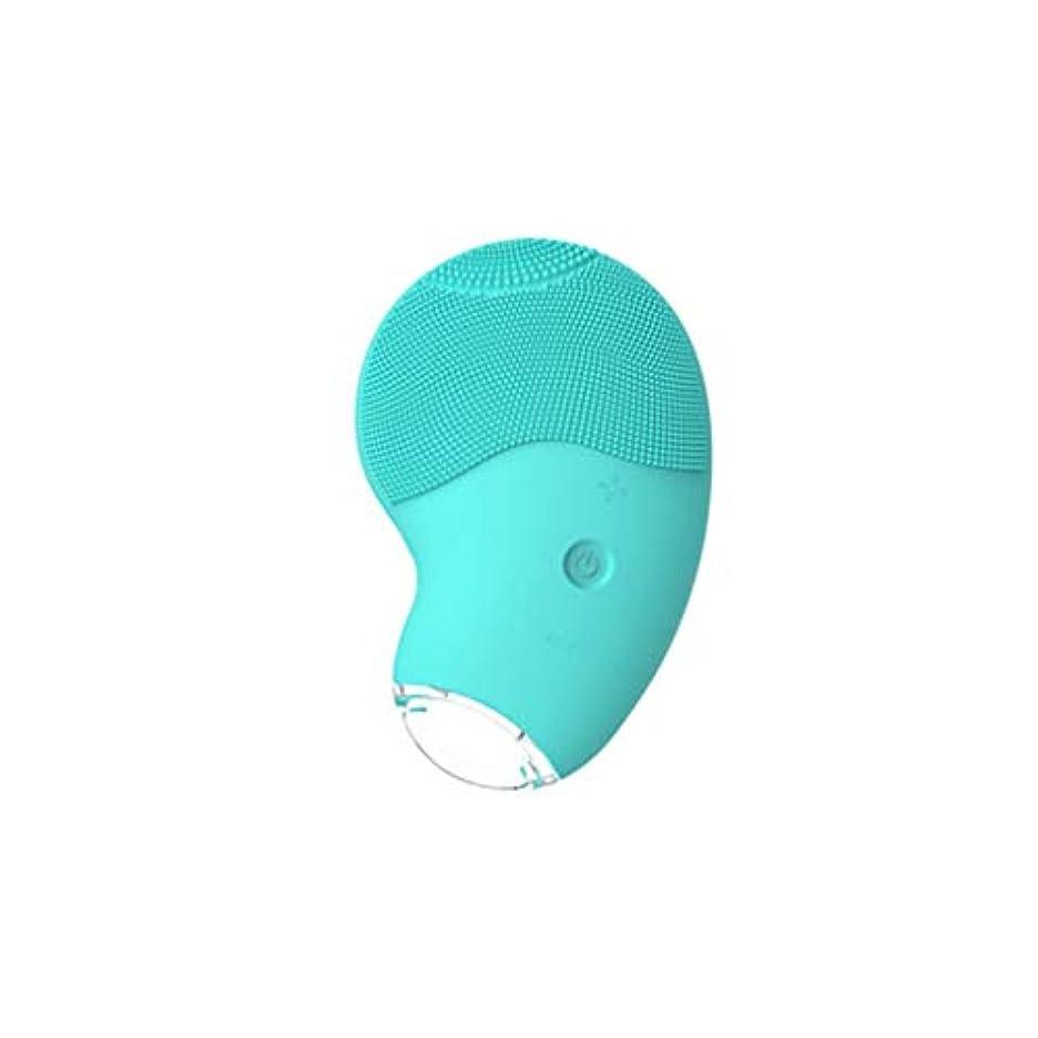 耐久サロンすみません電気シリコン洗顔ブラシ、ディープクレンジングアンチエイジングポータブルおよび防水充電式フェイスマッサージャー,グリーン