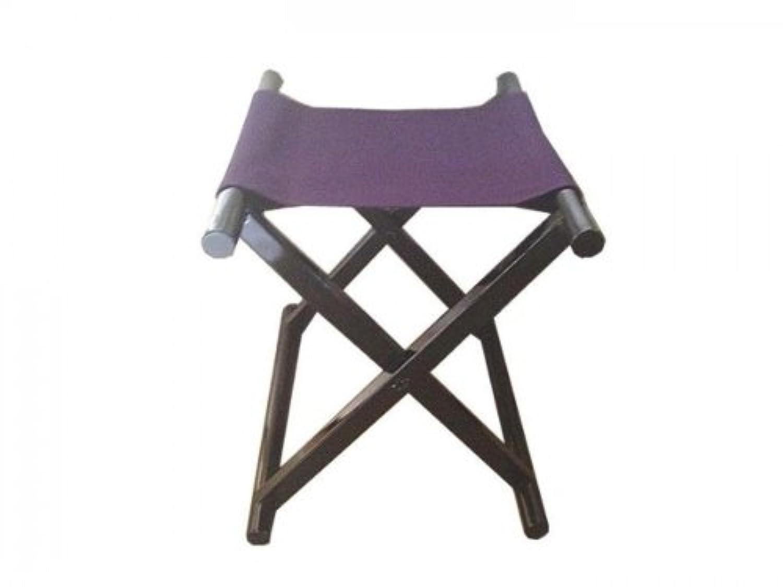 鈴木木工所 角細足胡床 木目出し黒塗紫布 低型