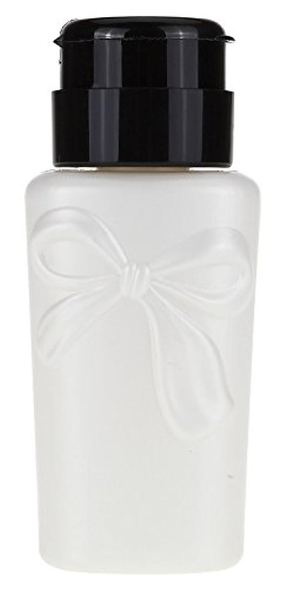 乳剤拍車関与する【アセトンも可】ポンプディスペンサー230ml★リボン(ロック式) (ホワイト)