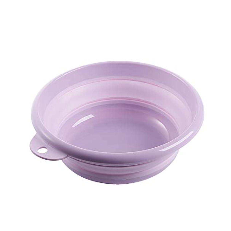 カプセル目的接触折りたたみ式洗面器、屋外旅行引き込み式洗面器、ホーム多機能洗面台保存スペース、ベビーバスの浴槽/フットバス/洗濯皿 (purple, L)
