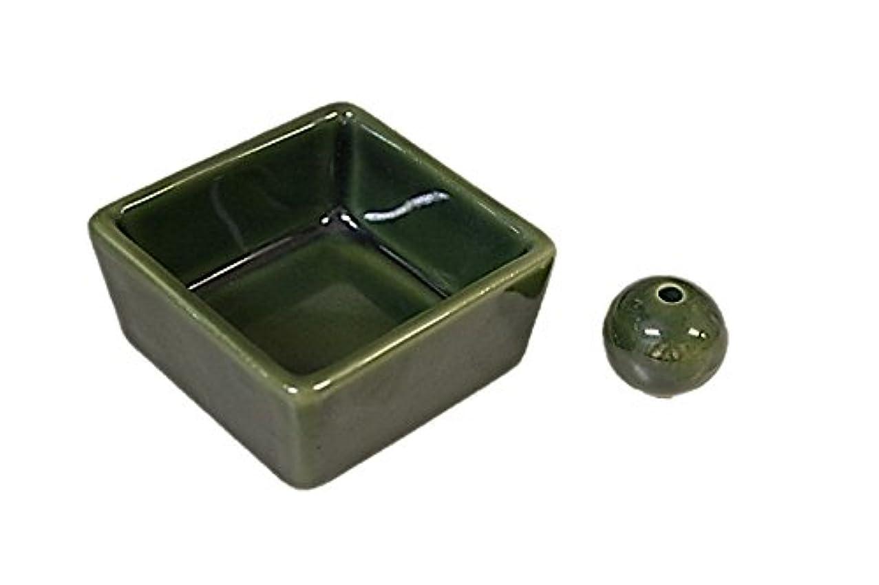 クレタ余剰先住民和モダン 織部 お香立て 陶器 角鉢 製造直売品