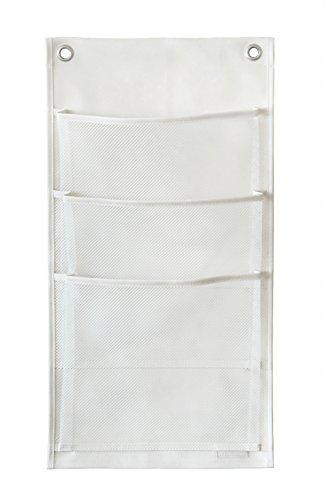 ウォールポケット マチ付マガジン3P オフホワイト 合皮×メッシュ W-431