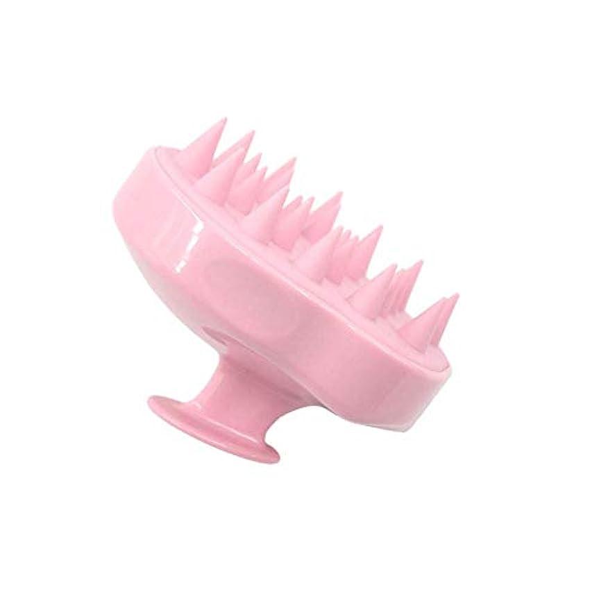 Chinashow ハンドヘルド スカルプ マッサージャー シャンプー コーム - シリコーン ソフト 多目的 フケ ブラシ 女性、男性、子供、ペット、ホームオフィス旅行用(ピンク)