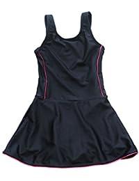 [アプラージュ]UPLAGE スクール水着 キッズ スカート付 ライン入り ガールズ ワンピース ジュニア ネイビー 女の子用 KM0032