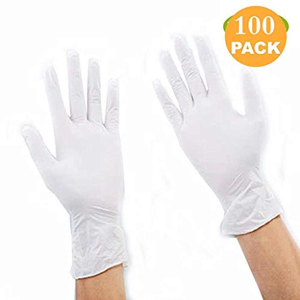 平らな事実上古くなったニトリル使い捨て12インチの厚さのゴム手袋白手袋、食品加工、医療医療医療-100パーボックス (Size : L)