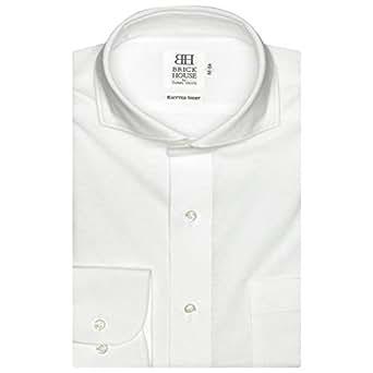 ブリックハウス ワイシャツ 長袖 形態安定 ビズポロ ニットシャツ ホリゾンタル ワイド スリム メンズ BM019200AB11Z3N-90 シロ L-86
