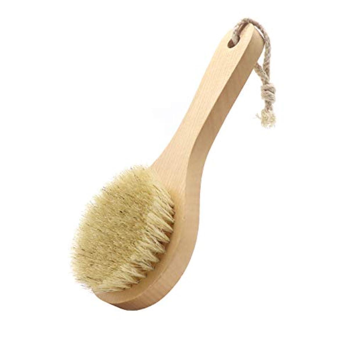 鼻釈義桃Maltose ボディブラシ 豚毛100% 木製 天然素材 短柄 硬め 足を洗う 体洗いブラシ 角質除去 美肌 お風呂グッズ (B:20 * 8CM)