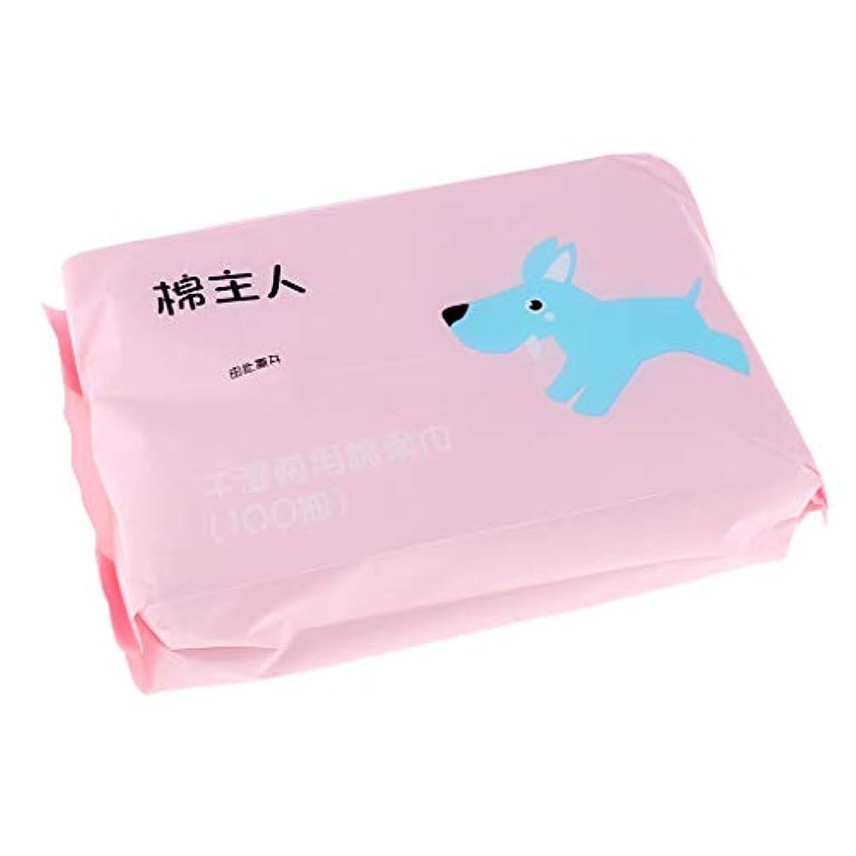 十分な気質マーチャンダイザーP Prettyia 約100枚 使い捨て クレンジングシート ソフト 2色選べ  - ピンク