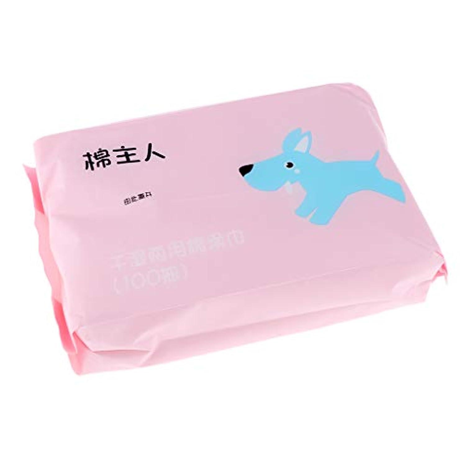苦悩勉強する俳優IPOTCH 約100枚 使い捨て クリーニング フェイスタオル 化粧品 ソフト フェイシャルワイプ 2色選べ - ピンク