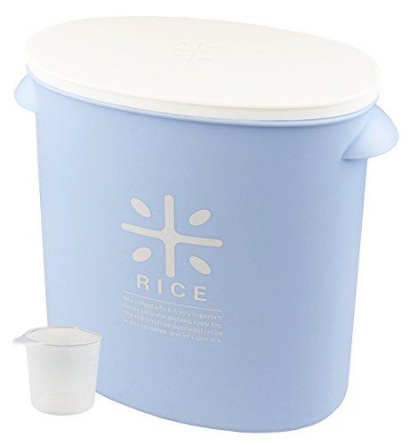 日本製 米びつ 5kg ペールブルー 計量カップ付 お米 袋のまま ストック RICE HB-3436