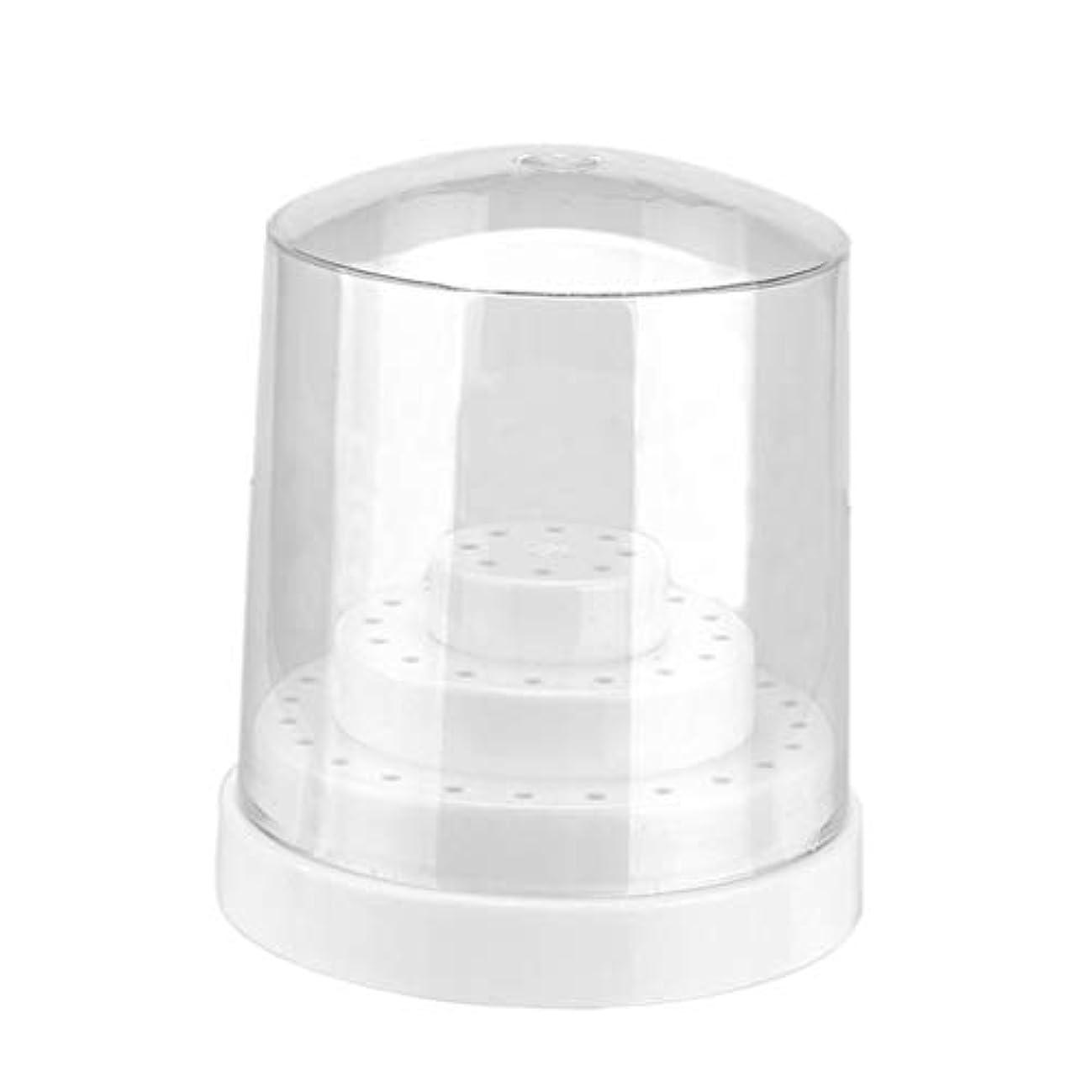 ネックレット穿孔する避ける48穴 ネイルビットホルダー ネイルファイル 収納ケース クリアカバー付き ネイル道具