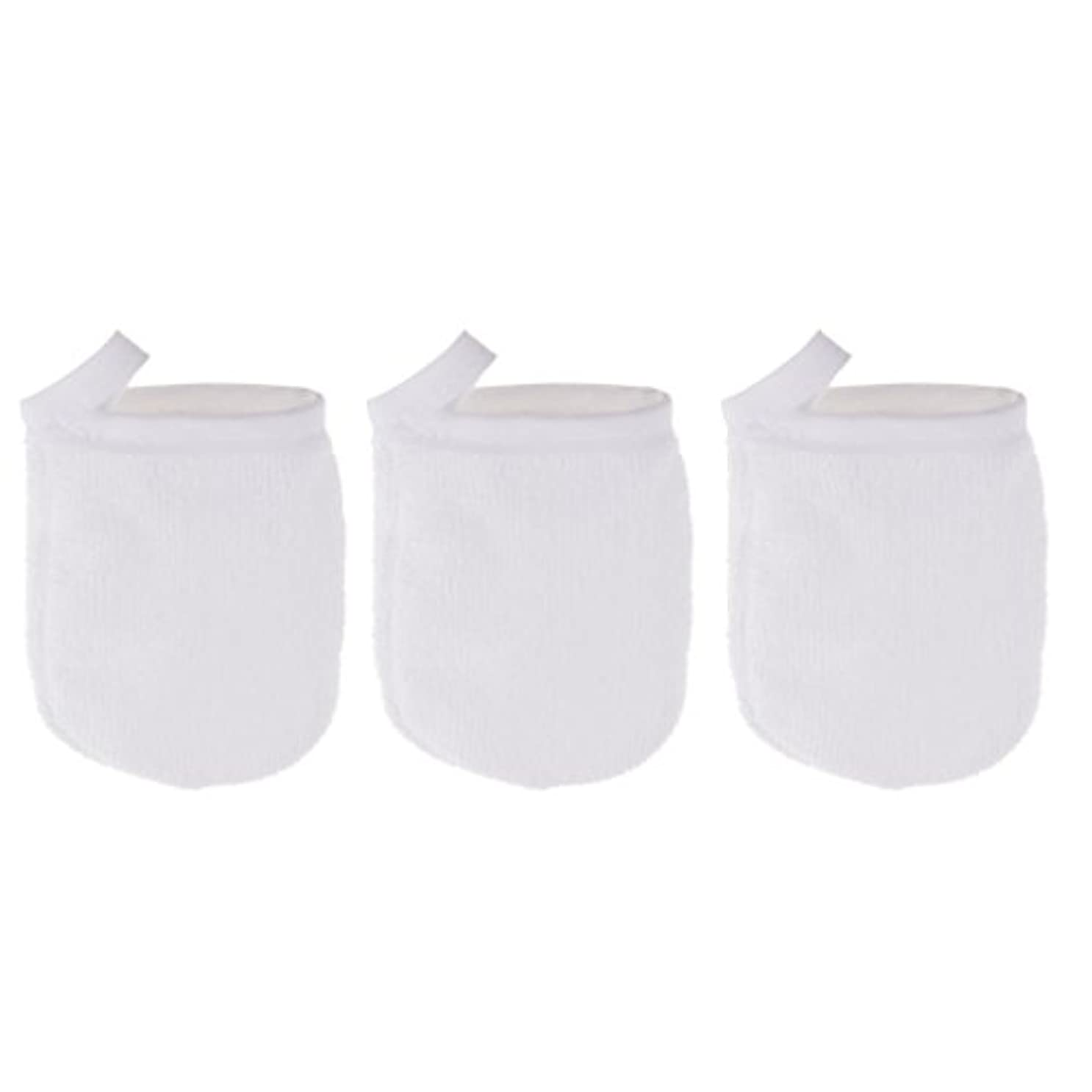 クリップ蝶効果的に期限切れPerfk 3個 クレンジンググローブ 手袋 洗顔グローブ 肌に気持ちいい フェイシャル 美容 ソフト マイクロファイバー グローブ メイクリムーバークロス 再使用可能