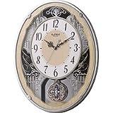 リズム時計 電波 掛け時計 アナログ スモールワールドクラッセ 30曲 メロディ 振り子 木 茶 Small World 4MN538RH23