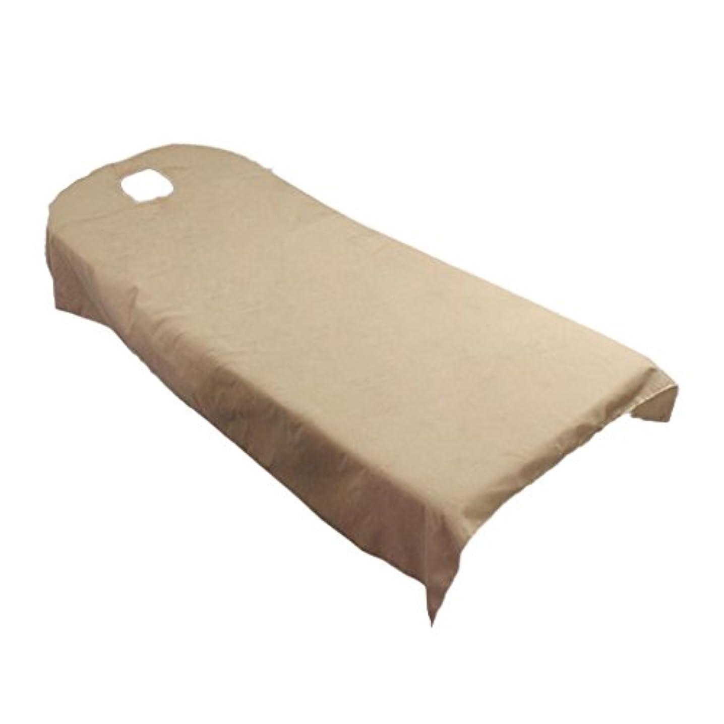 項目中傷塊タオル地 ベッドカバー ソファーカバー シート 面部の位置 ホール付き 美容/マッサージ/SPA 用 9色選べる - キャメル
