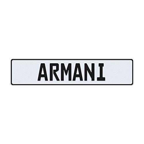 Armaniライセンスプレート ホワイト ARMANIWHTBLK