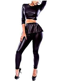VITryst トップスセットと女性ブラッククロップトップボディーコンハーフスリーブパンツ