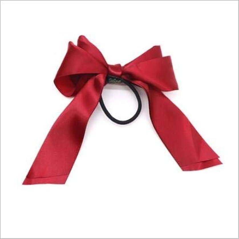 めったに説明的畝間Hairpinheair YHM 3PCS女性ラバーバンドティアラサテンリボンボウヘアバンドロープシュシュポニーテールホルダー(ピンク) (色 : Red)