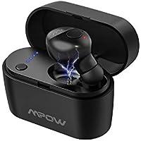 Mpow Bluetooth ヘッドセット 片耳 ブルートゥース イヤホン 完全 ワイヤレス V5.0 自動ペアリング 自動ON/OFF 充電ケース付き 15時間再生可能 マイク付き