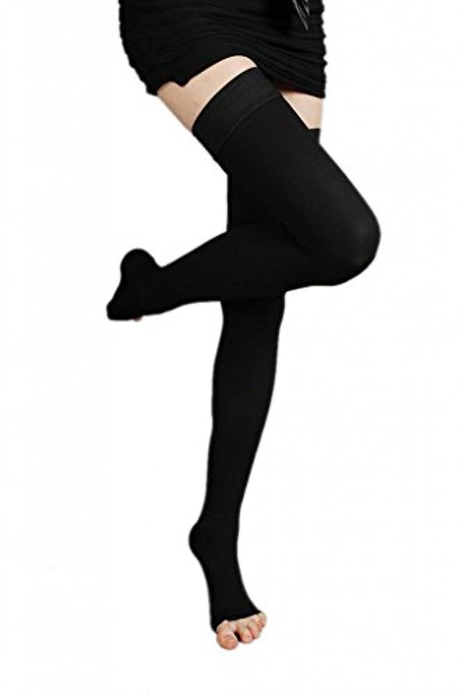 酸化する同意するバランスのとれた(ラボーグ)La Vogue 美脚 着圧オーバーニーソックス ハイソックス 靴下 弾性ストッキング つま先なし着圧ソックス
