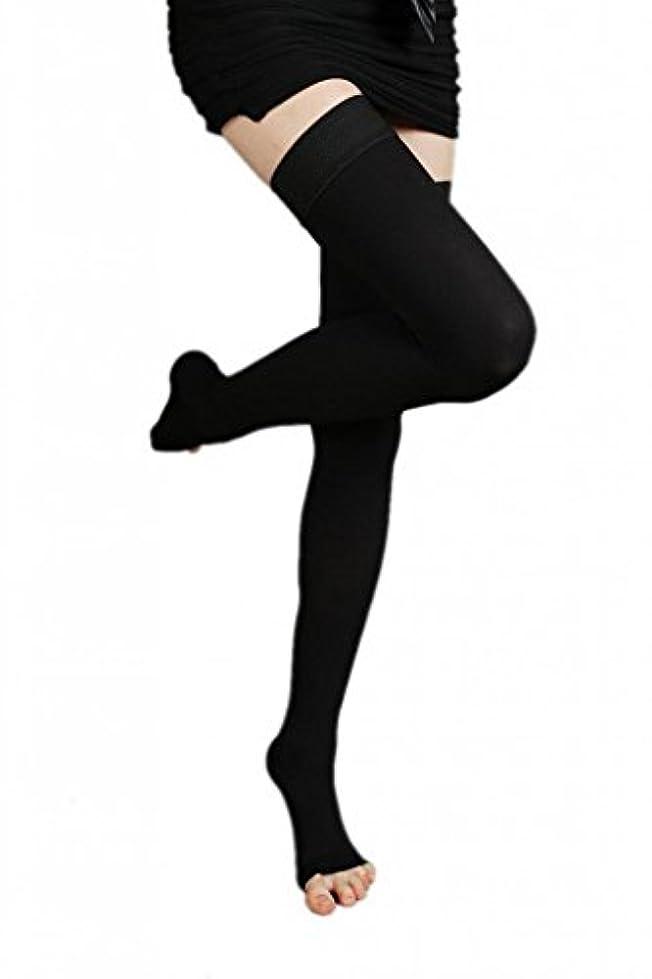 毎週泥棒ドアミラー(ラボーグ)La Vogue 美脚 着圧オーバーニーソックス ハイソックス 靴下 弾性ストッキング つま先なし着圧ソックス