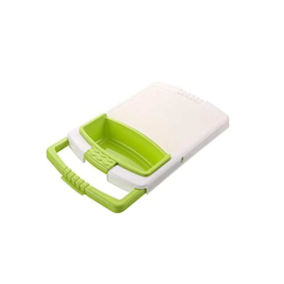 BESTONZON 1PC 2-in-1カッティングボード上シンク付チョッピングブロック収納バスケット付(グリーン)