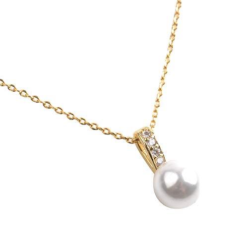 [cream dot クリームドット] 煌めくビジューライン×艶めくパールのネックレス ゴールド×ワンサイズ