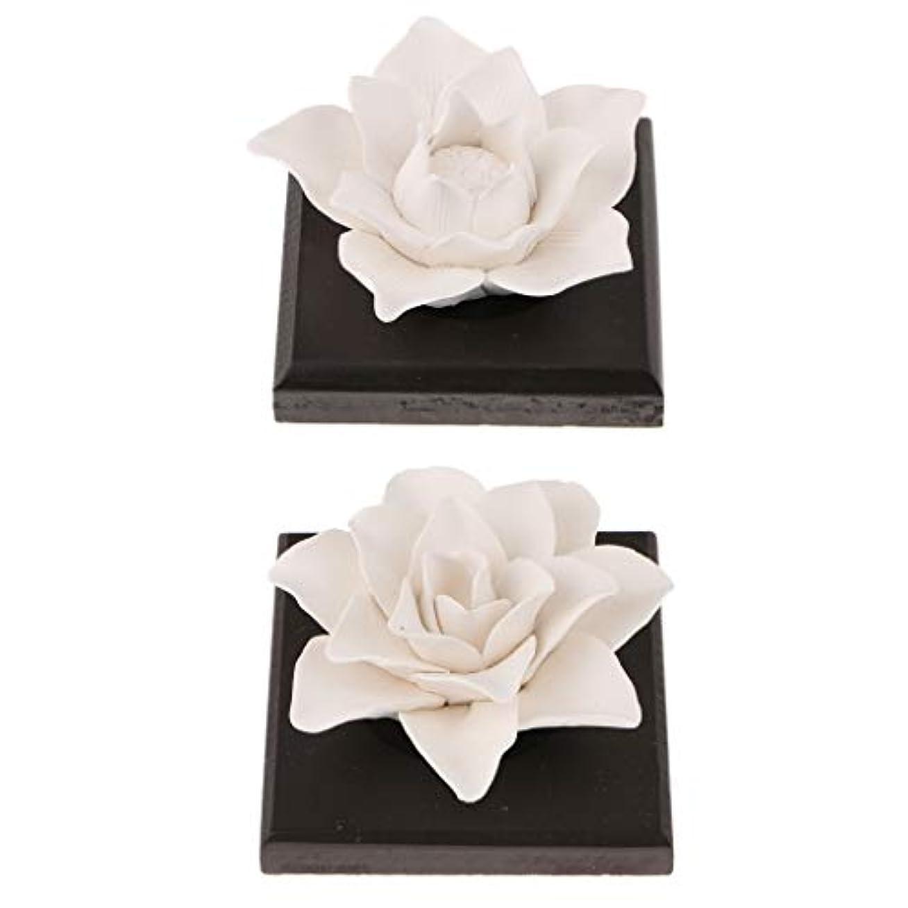 拮抗数字ポケットB Blesiya 美しい セラミック 花 エッセンシャルオイル 香水 香り ディフューザー 装飾品 2個
