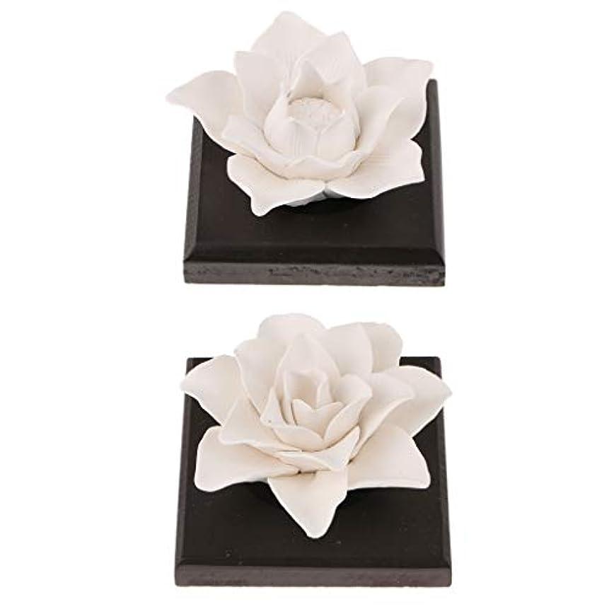 致死名目上のグリルB Blesiya 美しい セラミック 花 エッセンシャルオイル 香水 香り ディフューザー 装飾品 2個
