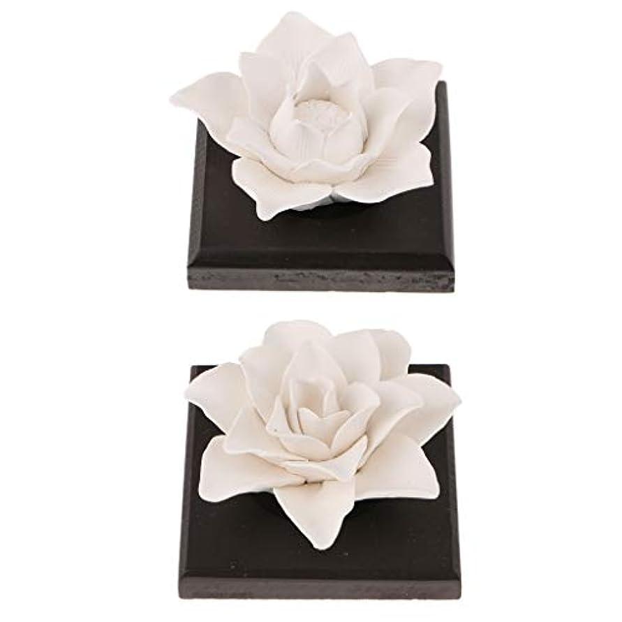 見る人許可するリアルB Blesiya 美しい セラミック 花 エッセンシャルオイル 香水 香り ディフューザー 装飾品 2個