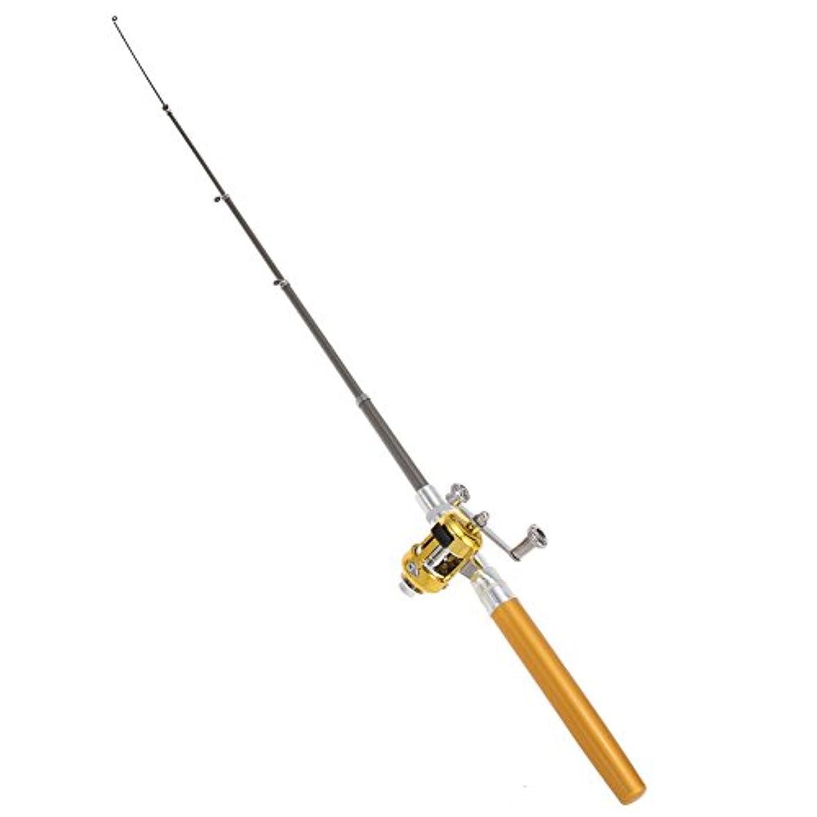 蘇生する家禽私ttnightミニ釣りロッド、ポータブルポケットペンタイプ伸縮Spinning Saltwaterロッド釣りロッドポールリールコンボ