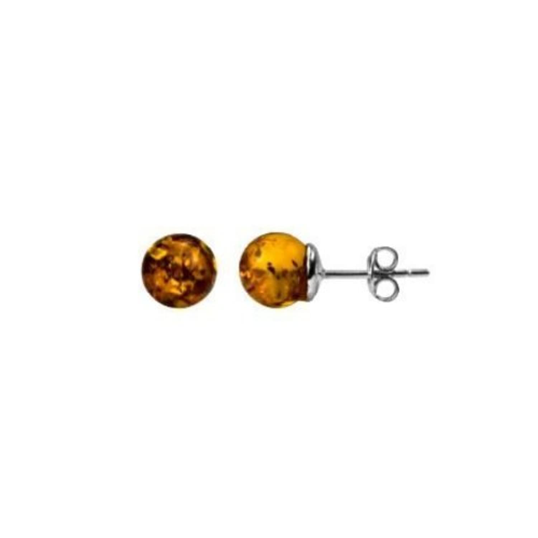 蜂蜜色の の琥珀とスターリングシルバーを組み合わせた小さな ボール型スタッドピアス 8mm