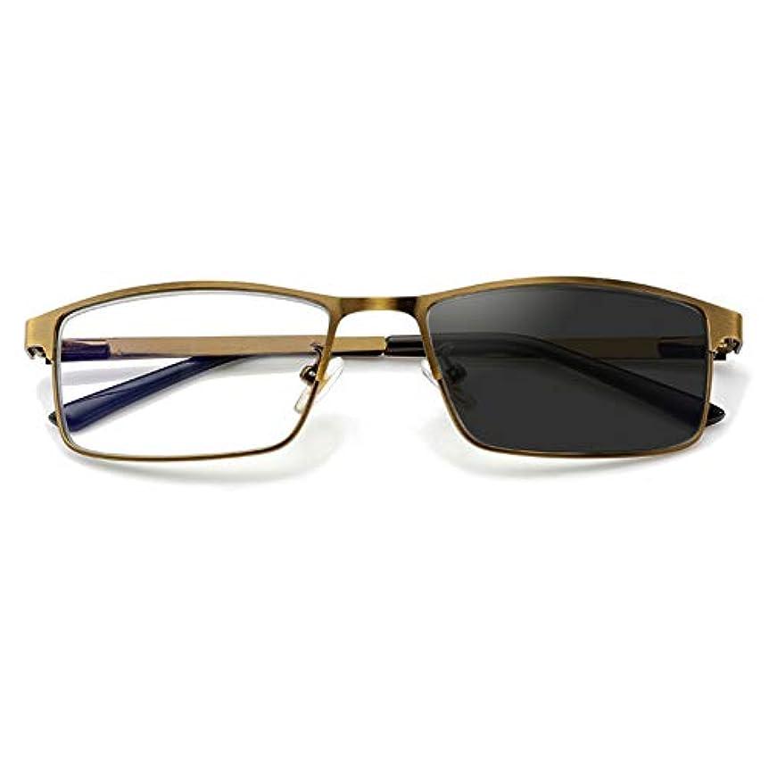 スマートズーム老眼鏡、スプリングヒンジステンレススチールサンレコーダー、遠近両用屋外用カラーチェンジ、メンズ用