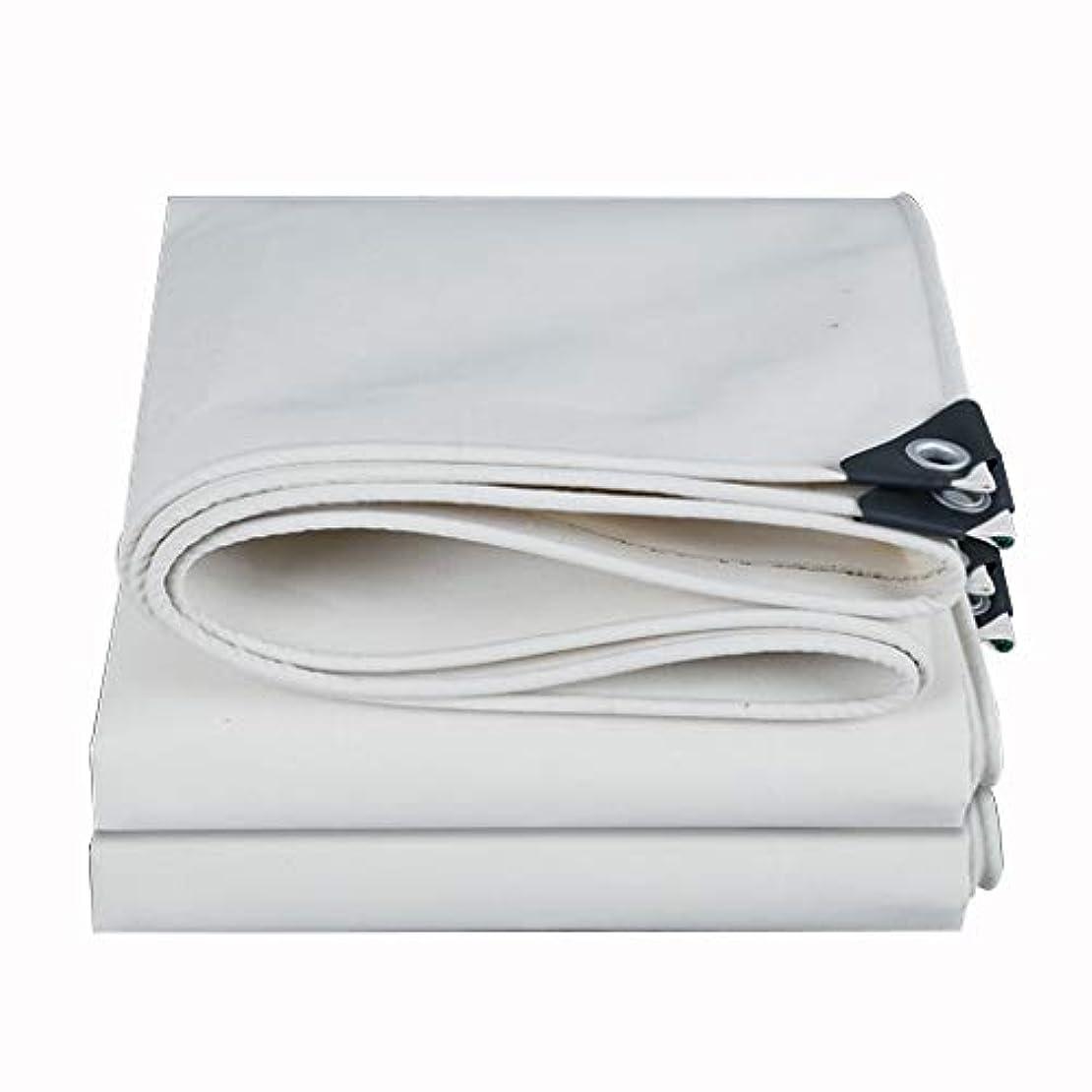 後方に高潔な返済アウトドア ターポリンホワイトキャンバスレインサンスクリーン厚手暖かい服装アンチエイジングターポリンアウトドアオーニングクロスカートラックターポリン/高品質 テント (Color : 白, Size : 400*500cm)